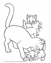 Print Or Download Cats And Kitten Free Printable Coloring Pages No
