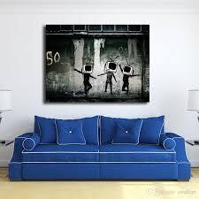 großhandel banksy tv graffiti wallpaper leinwand malerei wohnzimmer wohnkultur moderner wand kunst ölgemälde plakat grafik iwallart