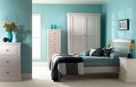 Dazzling White Furniture For Girl Bedroom With Blue Wall Paint Decor Idea