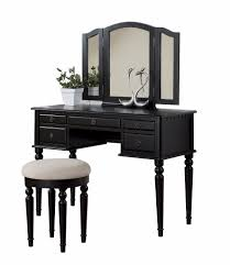 Furniture Outstanding Bedroom Decoration With Black Wood Makeup