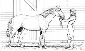 Woman And Mare Horse Coloring Page Free Printable Pages