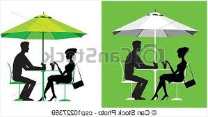 Patio Table For Umbrella Comfortable Clipart Vector Of Couple At Outdoor Cafe Silhouette A