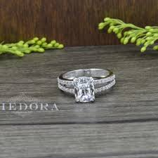 325 CT Engagement Ring With Cushion Cut Stone Solid 14K White Gold Bridal Vintage