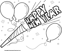 New Year Clip Art – Black And White – Happy Holidays