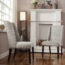 Chelsea Lane Gray Chevron Print Fabric Wingback With Nailhead Accent ...