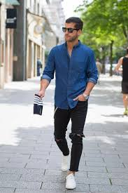 Black Ripped Denim A Chambray Shirt And White Sneakers