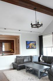 Living Room With Vaulted Ceiling Fake Faux Wood Beam Chandelier Gray Owl Paint Colour Kylie M Interiors Color Consulting And E Decor