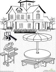 Second Grade Coloring Worksheets Color the Backyard Scene