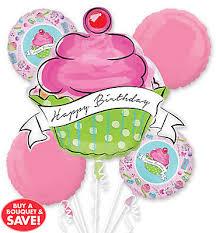 Happy Birthday Balloon Bouquet 5pc Giant Cupcake