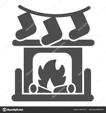 kamin mit lagerfeuer und socken solide symbol weihnachten