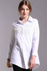 kettymore women long sleeves plus size shirt and blouse white