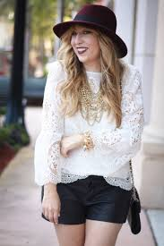 choie white lace bell sleeve top leather shorts target maroon felt