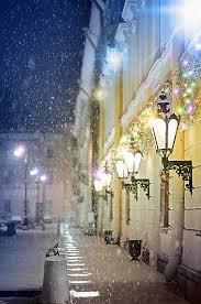 A snowy evening Mikhailovsky Theatre St Petersburg Russia