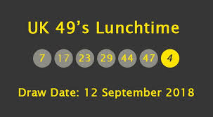 UK 49s Lunchtime Results Wednesday 12 September 2018