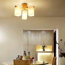 moderne deckenleuchte aus holz und glas für wohnzimmer