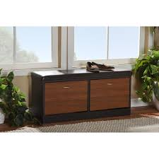 Baxton Shoe Storage Cabinet by Baxton Studio Foley Modern Contemporary 2 Tone Dark Brown Oak