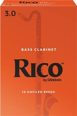 Rico Bass Clarinet Reeds - Strength 3.0, 10pk