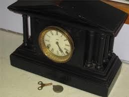 Bulova Table Clocks Wood by Rare Antique Ingraham Calumet Model Wooden Black Mantel Clock W