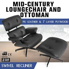 Mid Century Lounge Eames Chair And Ottoman PU Leather Recliner W ... Mid Century Modern Lounge Chair Set 4 Eames Soft Pad High Herman Milo Baughman For James Inc Recliner In Original Fabric Arne Vodder France Sons Danish Teak Recling Chairs Midcentury Modern Fniture Ding Target Vintage Mid Century Danish Modern Recliner Lounge Chair Eames Mafia Building A Shaun Boyd Made This Miller White 670 671 Leather Ottoman Chair Png Sling Midcentury Selig Swivel