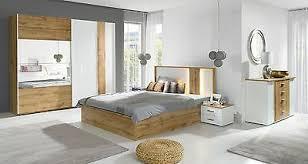 komplett schlafzimmer forest hochglanz weiß altholz optik mit led 5 teilig neu ebay