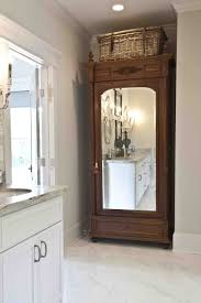 Antique Armoire Turned Linen Closet - Cedar Hill Farmhouse Pacific Palisades Project Guest Powder And Spa Bathrooms Lazy Linen Armoire Guest Post Country Chic Paint Wellsuited Tall Cabinet The Homy Design Bathroom Floor Cabinets Shaker Free Standing Sold Pine Antique 1850s Wardrobe Or Amusing White Unique Best 25 Storage Ideas On Pinterest Hall Closet Images About Closet Bar Awesome Corner Bar Pantry Ideas With New Ikea Shelf Unit Storage