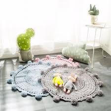 neue häkeln runde teppiche teppiche für kinder wohnzimmer dekoration kinder baby decke spiel matte rosa 80cm playmat pad tapete k001