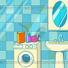 bathroom with washing machine and washbasin vector clipart