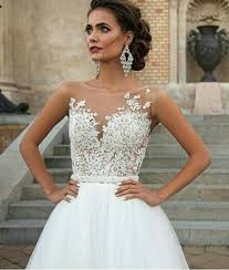 Milla Nova 2016 Wedding Dresses For Western Styling Brides Sale Cheap Sweetheart Cut With Sheer Crew Neck Bridal Gowns Nude Tulle Top