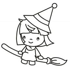 Beautiful Witch Girl Coloring Page For Preschoolers