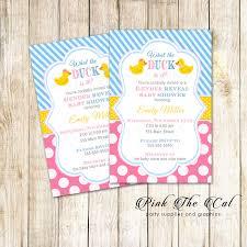 Rubber Duck Gender Reveal Baby Shower Invitation Printable Pink