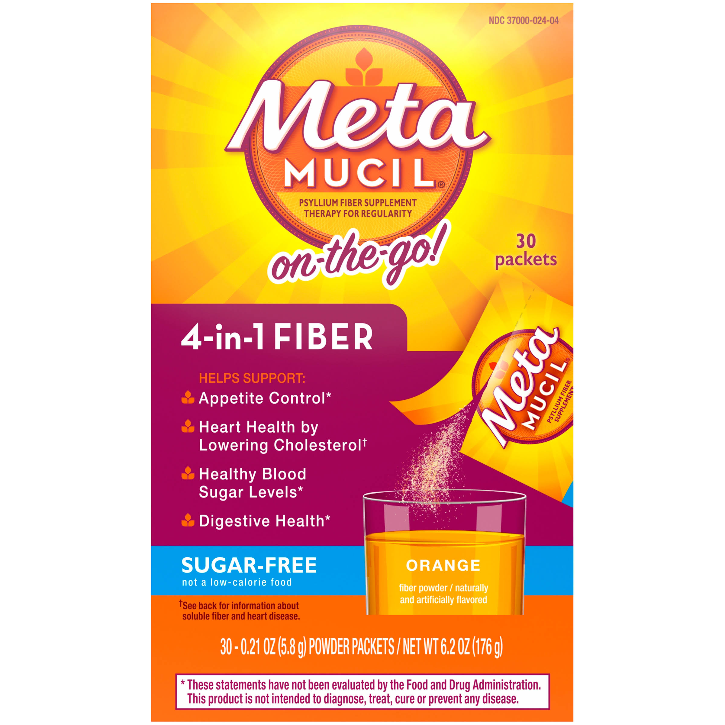 Metamucil Fiber Singles Smooth Texture Sugar Free Powder Packets - Orange, 30ct