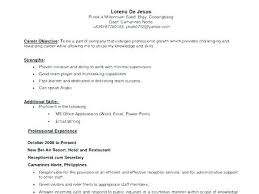 Medical Receptionist Resume Objective Examples Of Job Samples Ex