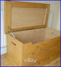 handmade wooden children u0027s toy box carved personalised storage
