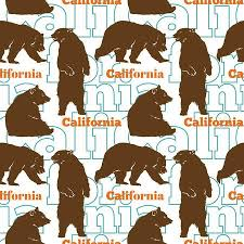 Travel California Bears Seamless Pattern With Brown Sitting Standing Up And Walking Graphic