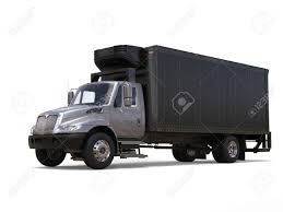 Silver Refrigerator Truck With Black Trailer Stock Photo, Picture ...