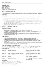 Example Social Work Resume For Worker Examples