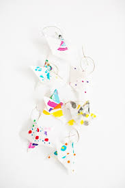 A Easy Art Project Both My 3 And 5 Year Old Enjoyed Painting Colorful Designs On Origami Paper Turning Them Into Pretty Star Ornaments To Hang Up