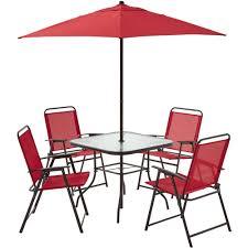 Mainstays Patio Set Red by Mainstays Pleasant Grove 6 Piece Sling Folding Set Red Walmart Com