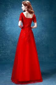 elegant red full length chinese wedding dress evening gown with