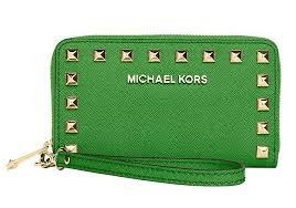 Michael Kors Palm Green Leather Selma Stud Multifunction Iphone