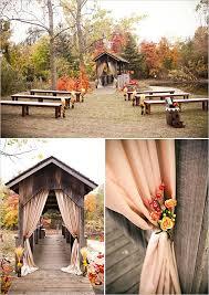 Ceremony Decorating Ideas Burlap Autumn Florals Benches Covered Bridges Rustic Barns