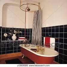 black white gestreift duschen vorhang oben rot clawfoot