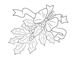 Click To See Printable Version Of Christmas Holly With Bow Coloring Page