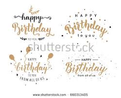 Set Happy Birthday Inscriptions Hand Lettering Stock Vector