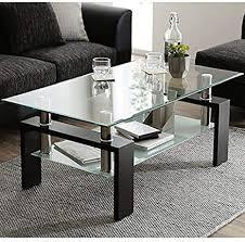 modernluxe couchtisch kaffetisch aus gehärtetem glas wohnzimmertisch schwarzer moderner rechteckiger teetisch 100 x 60 x 45 cm clear black
