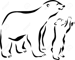 1300x1049 Amazing Outline Polar Bear With Baby Tattoo Design
