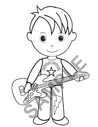 Personalized Printable Boy Rockstar Birthday Party Favor Childrens Kids Coloring Page Book Activity PDF Or JPEG File