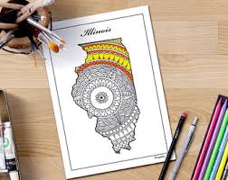 Illinois Map Usa Decorative Maps Coloring Page United States Book Travel