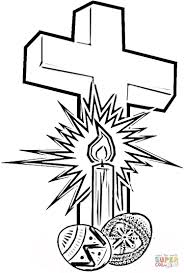 Click The Easter Cross With Eggs Coloring Pages To View Printable Version Or Color It Online Compatible IPad And Android Tablets