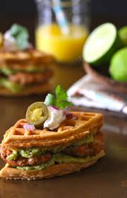 Pumpkin Throwing Up Guacamole by Spiced Mini Waffle Breakfast Sandwiches With Chicken Chorizo